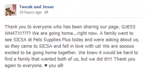 Tweak and Jesse FB post