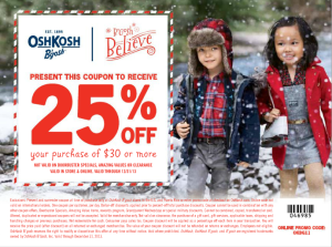 oshkosh b'gosh 25percent coupon