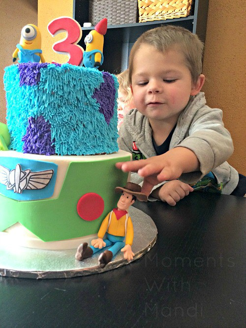 Birthday boy with his cake