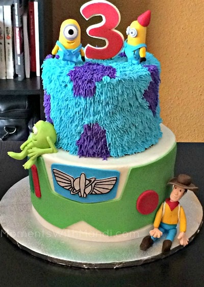 The Toy Story plus Monsters Inc plus Despicable Me Birthday Cake