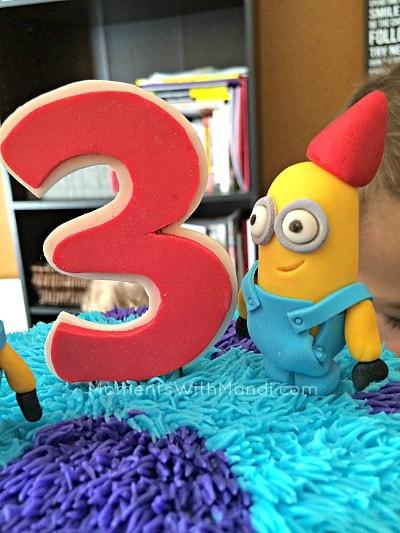 Minion birthday hat cake topper