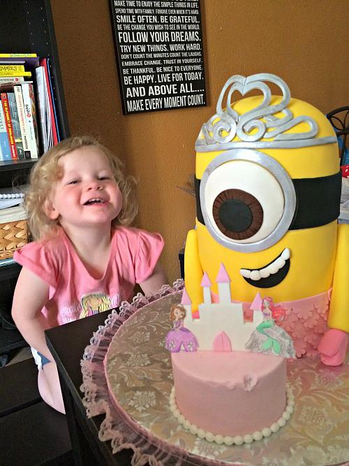 Princess Minion birthday cake