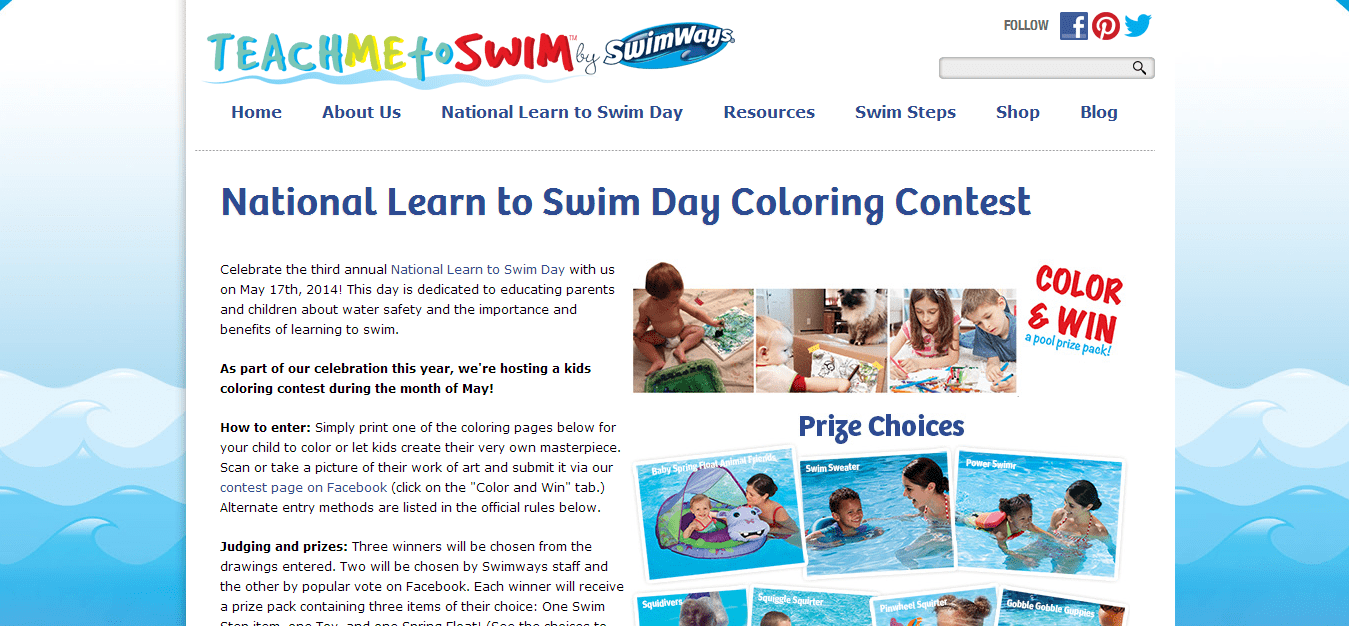 National Learn to Swim Day Coloring Contest