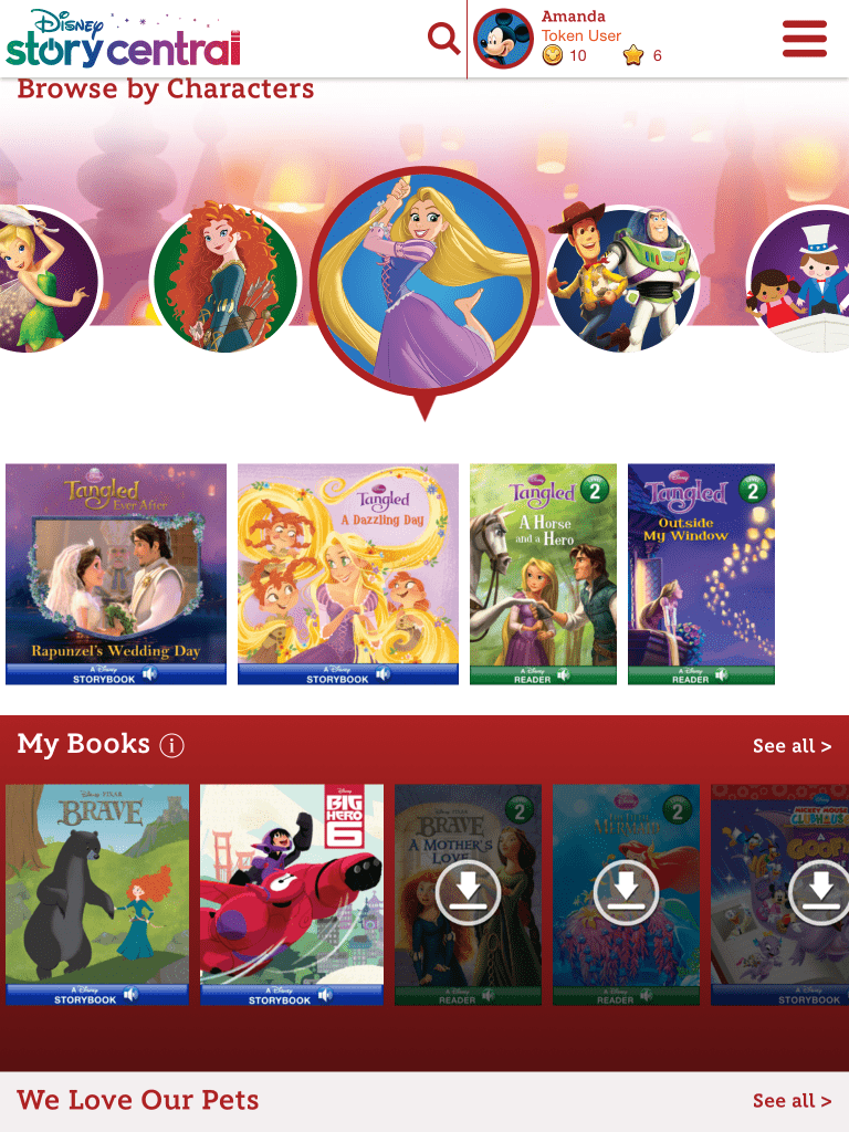 Use tokens to download new books on Disney Story Central