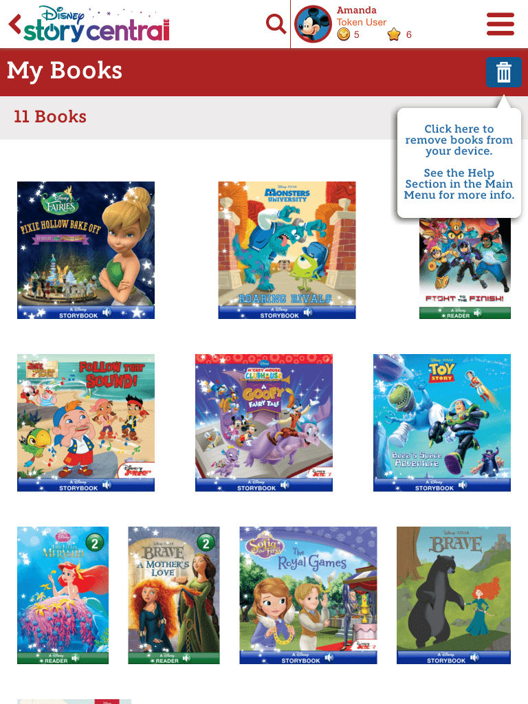 Library of books on Disney Story Central