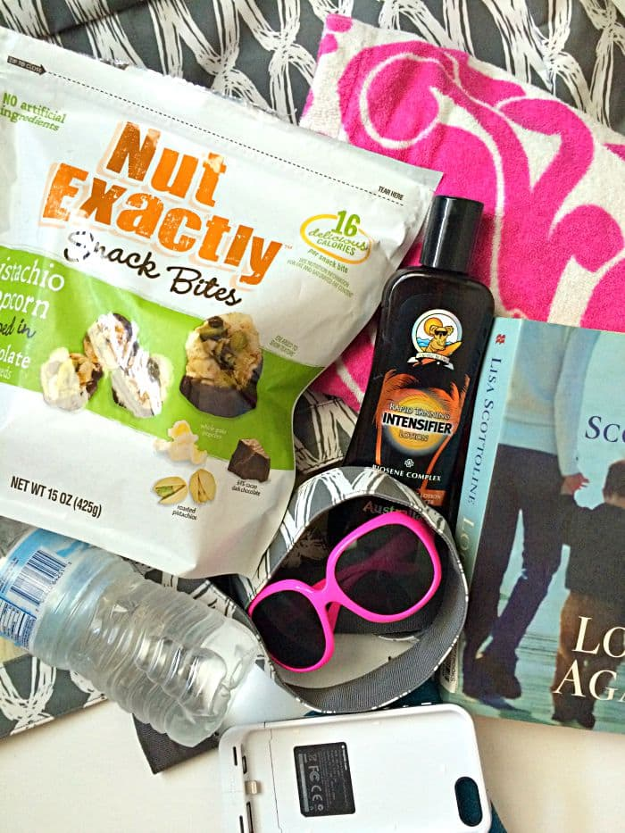 Beach Bag Essentials with Nut Exactly Snack Bites