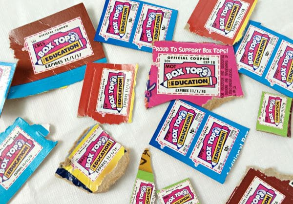 Box Tops for Education cut out to turn in