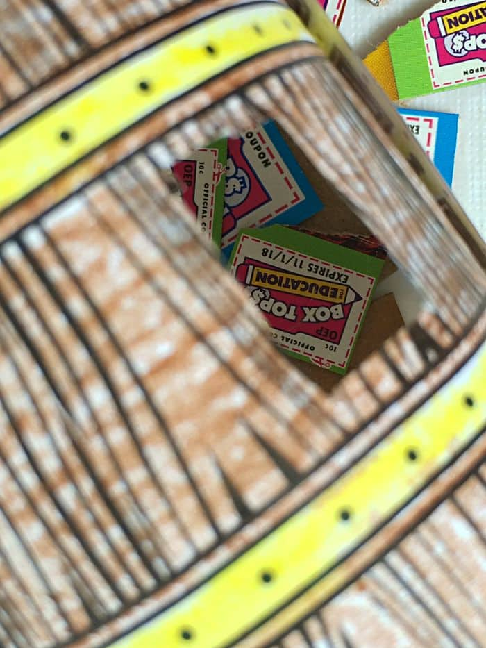 Box Tops inside the treasure chest