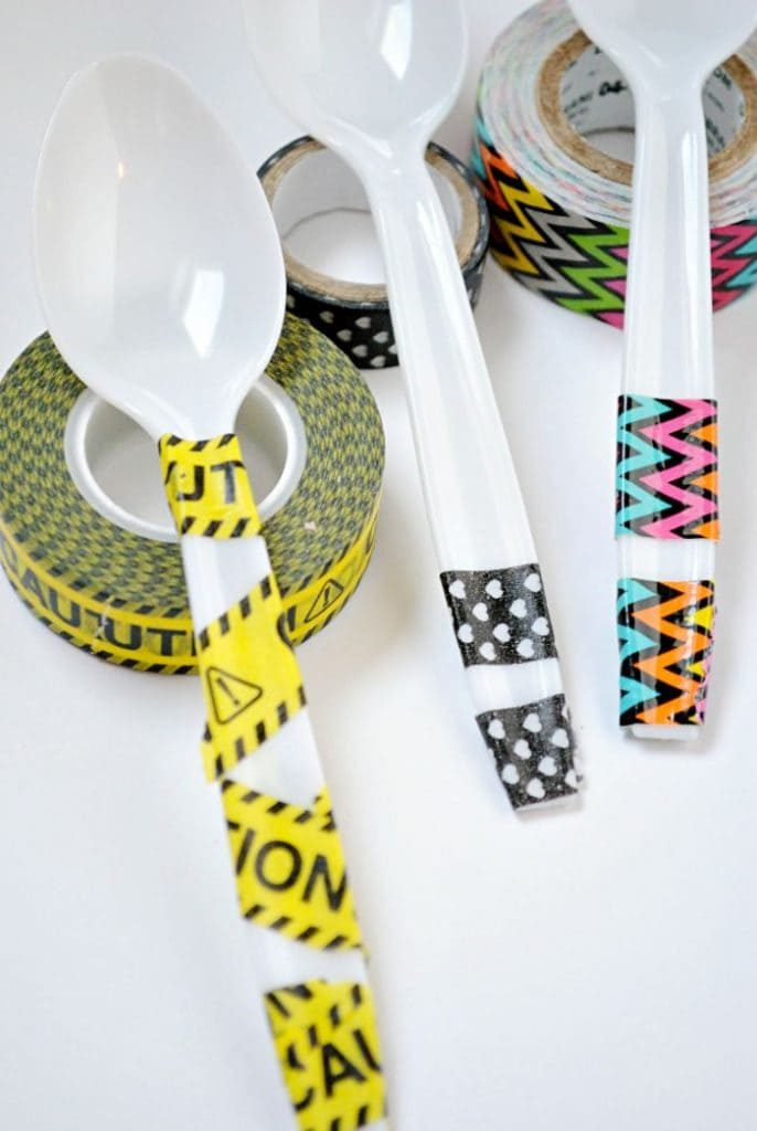 Easy Washi Tape Party Spoons