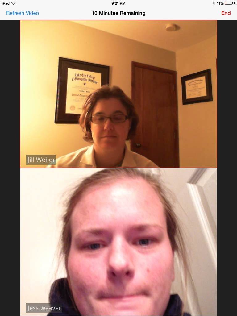 One on one video chat with an Amwell doctor