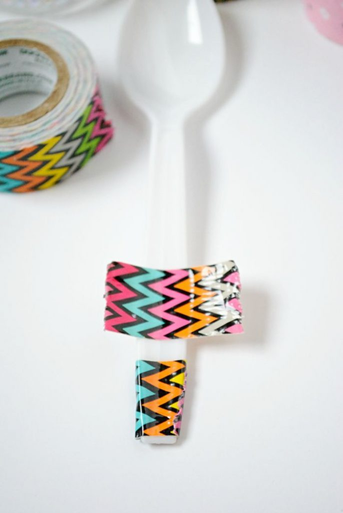 Wrap washi tape around plastic spoons for fun party decor