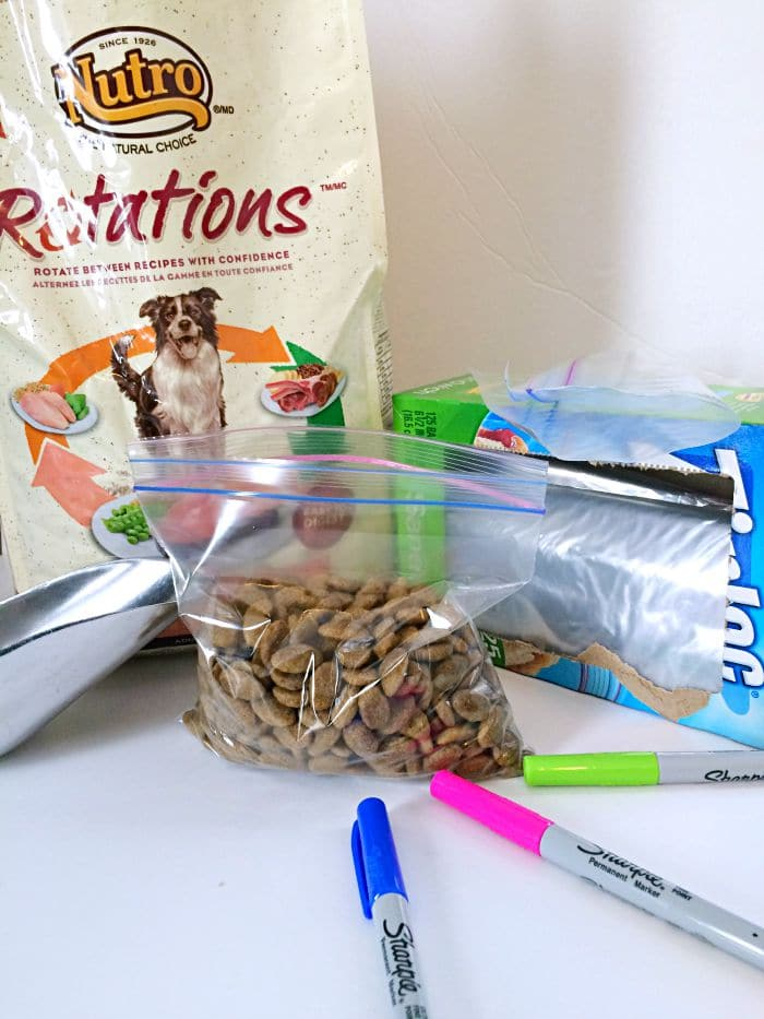 Portion your dog's food for vacation and travel