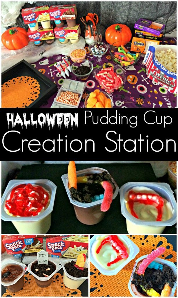 Halloween Pudding Cup Creation Station for kids