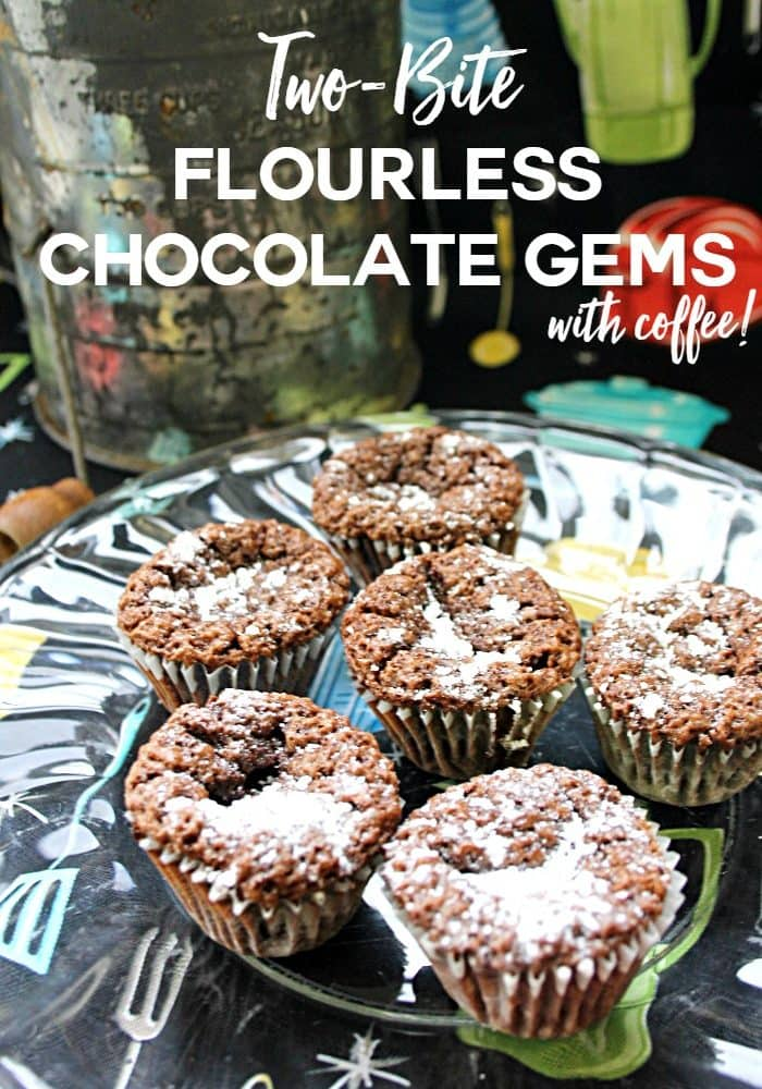 Two-Bite Flourless Chocolate Gems with coffee