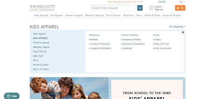 Swap.com shopping categories